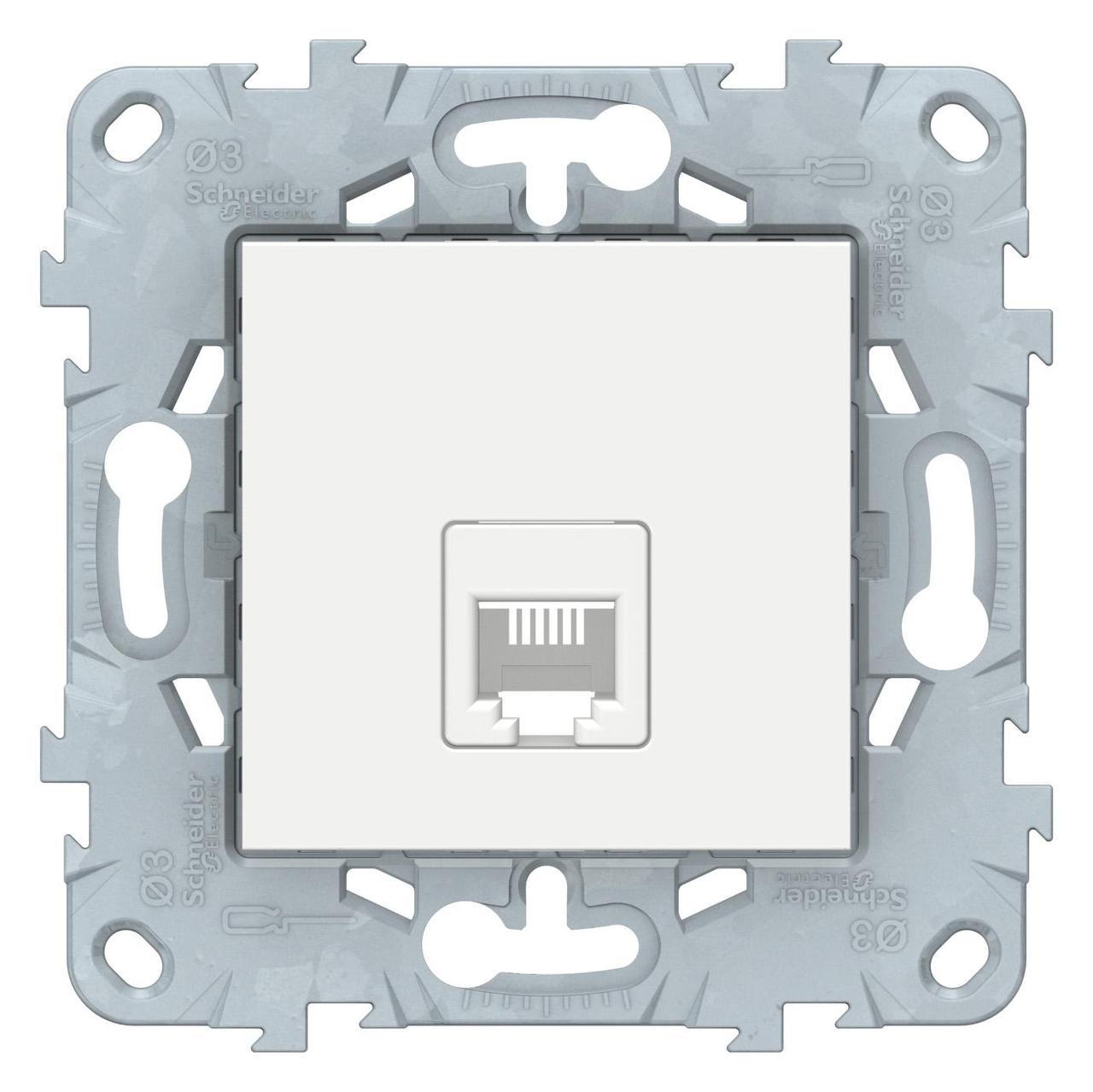 Розетка телефонная 1-ая 4 контакта, RJ-11 , Белый, серия Unica New, Schneider Electric