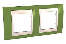 Рамка 2-ая (двойная), Фисташковый/Бежевый, серия Unica, Schneider Electric