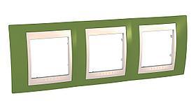 Рамка 3-ая (тройная), Фисташковый/Бежевый, серия Unica, Schneider Electric