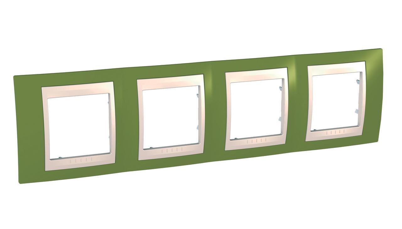 Рамка 4-ая (четверная), Фисташковый/Бежевый, серия Unica, Schneider Electric