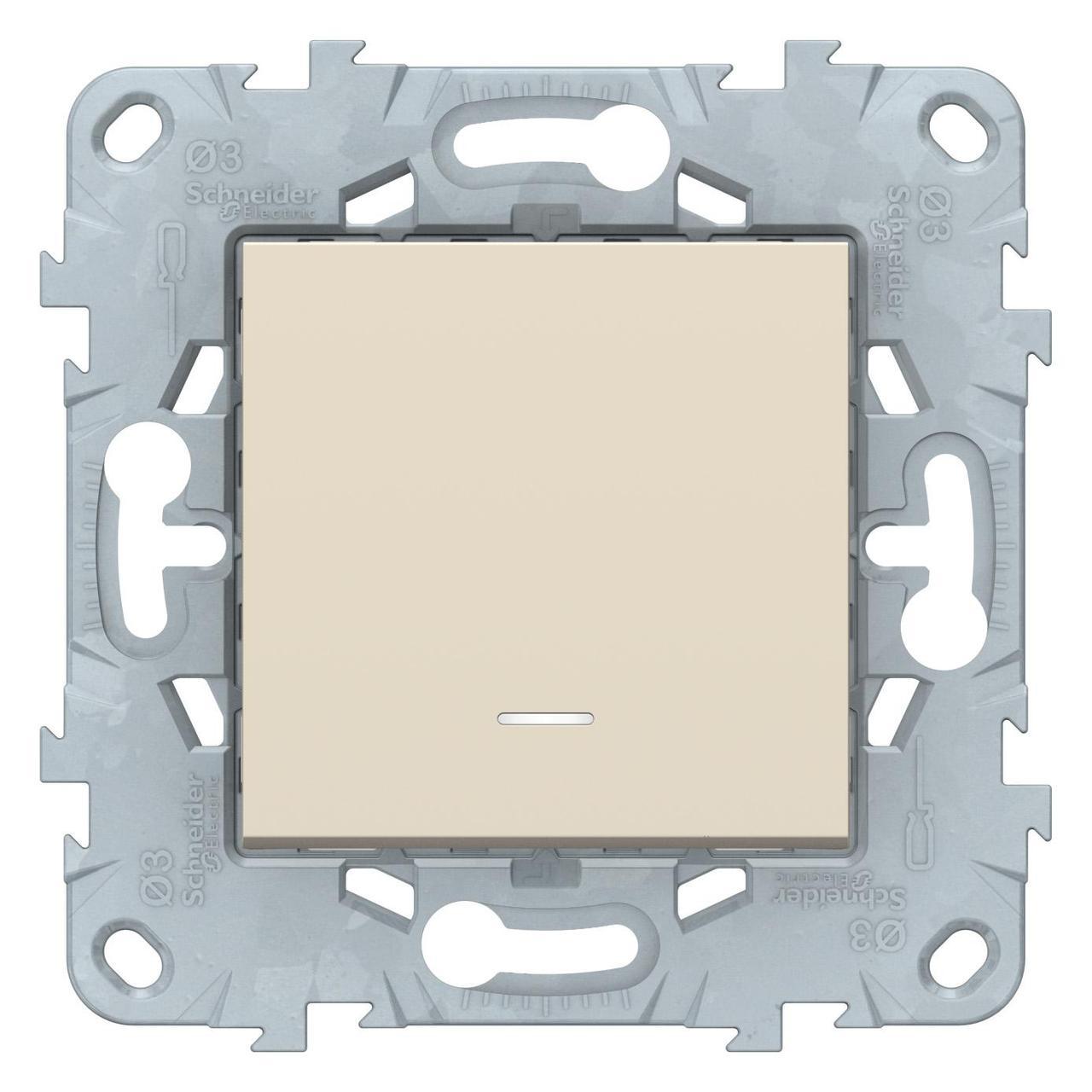 Выключатель 1-клавишный ,проходной с подсветкой (с двух мест) , Бежевый, серия Unica New, Schneider Electric