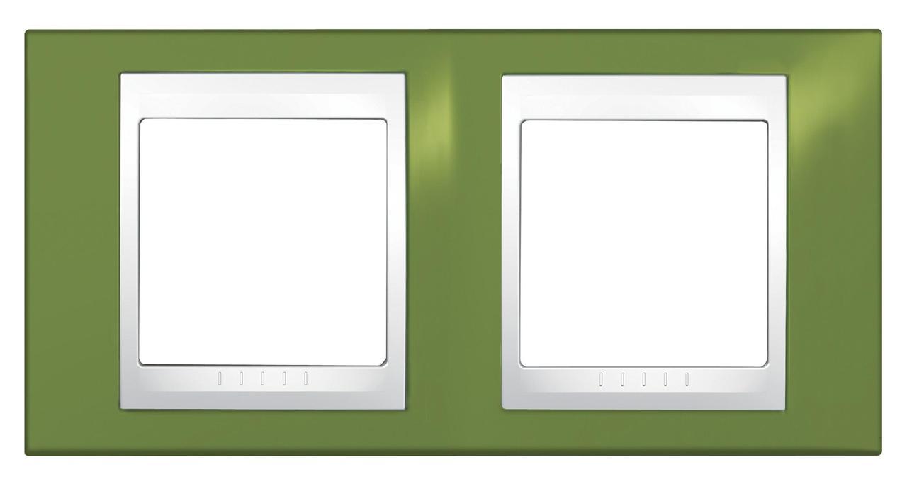 Рамка 2-ая (двойная), Фисташковый/Белый, серия Unica, Schneider Electric