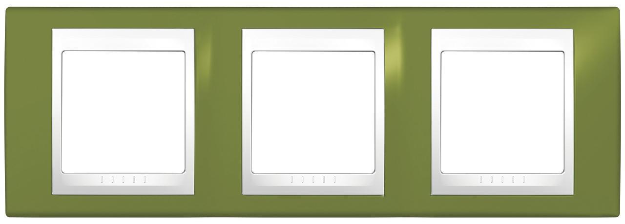 Рамка 3-ая (тройная), Фисташковый/Белый, серия Unica, Schneider Electric