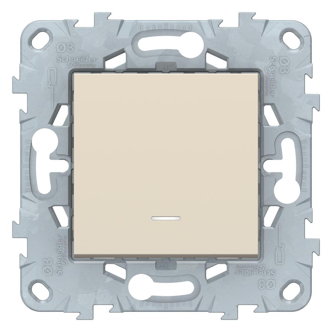 Выключатель 1-клавишный; кнопочный с подсветкой , Бежевый, серия Unica New, Schneider Electric