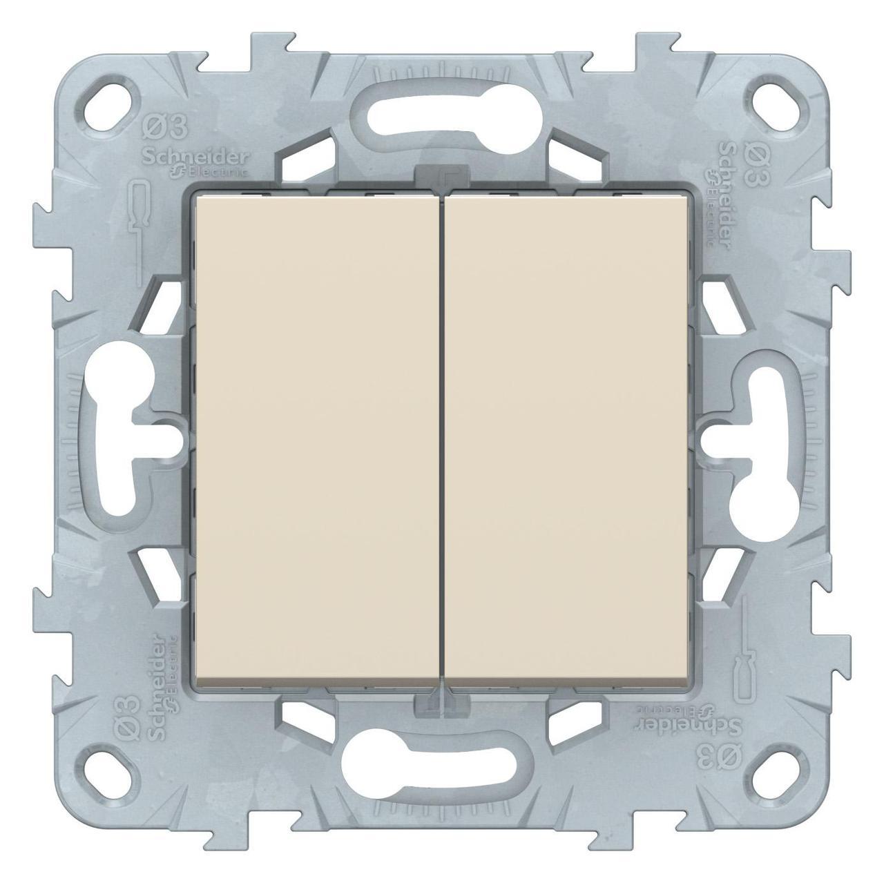 Выключатель 2-клавишный, перекрестный (с трех мест , Бежевый, серия Unica New, Schneider Electric