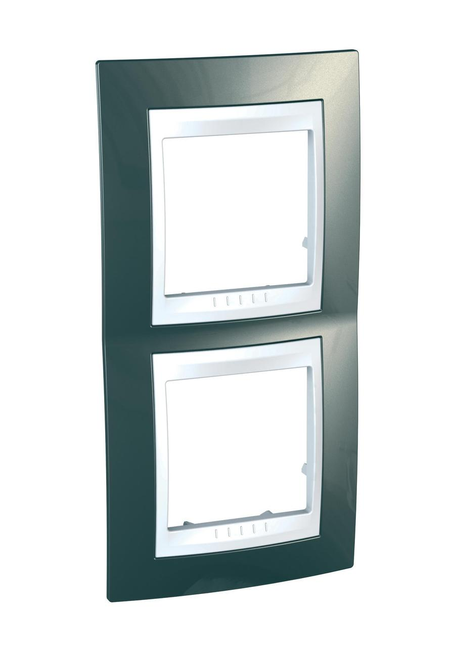Рамка 2-ая (двойная) вертикальная, Шампань/Белый, серия Unica, Schneider Electric