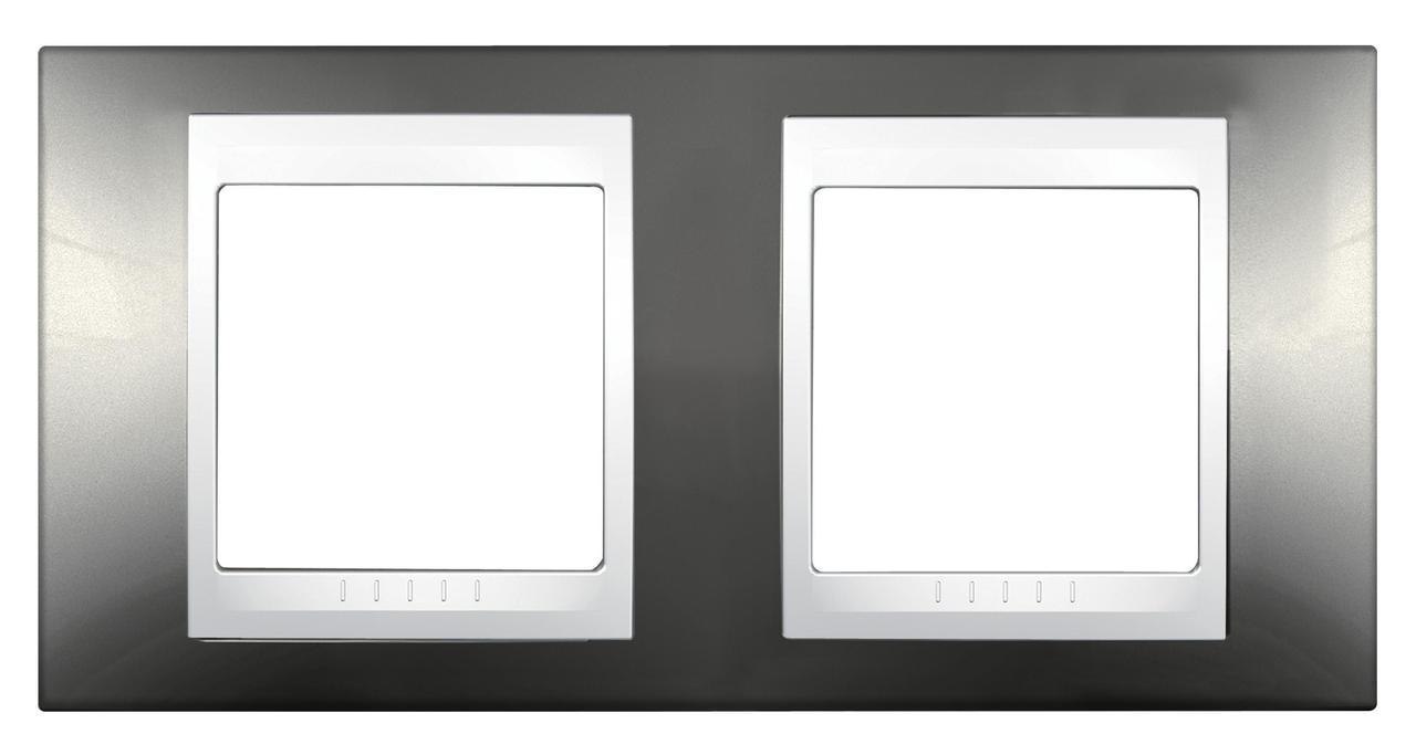 Рамка 2-ая (двойная), Шампань/Белый, серия Unica, Schneider Electric