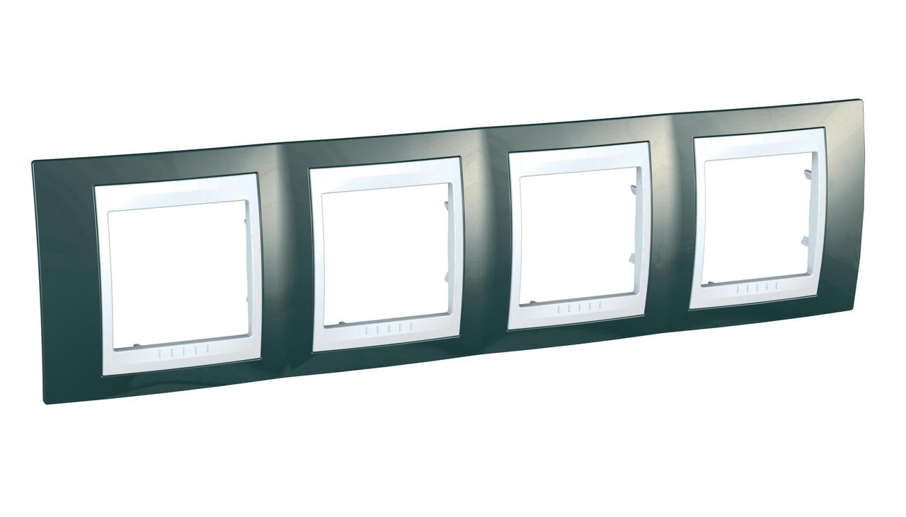 Рамка 4-ая (четверная), Шампань/Белый, серия Unica, Schneider Electric