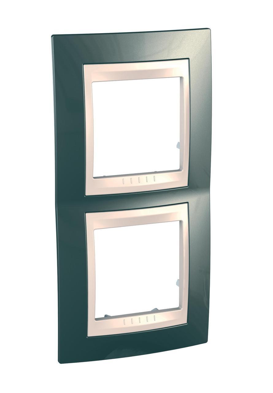 Рамка 2-ая (двойная) вертикальная, Шампань/Бежевый, серия Unica, Schneider Electric
