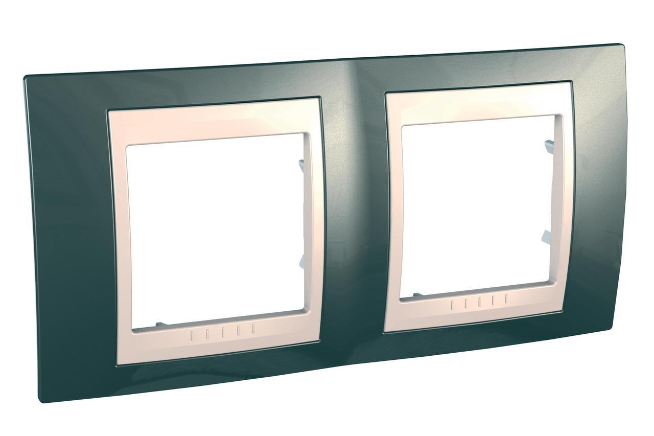 Рамка 2-ая (двойная), Шампань/Бежевый, серия Unica, Schneider Electric