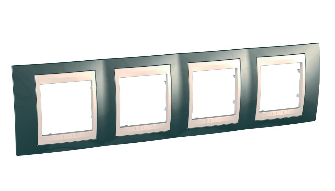 Рамка 4-ая (четверная), Шампань/Бежевый, серия Unica, Schneider Electric
