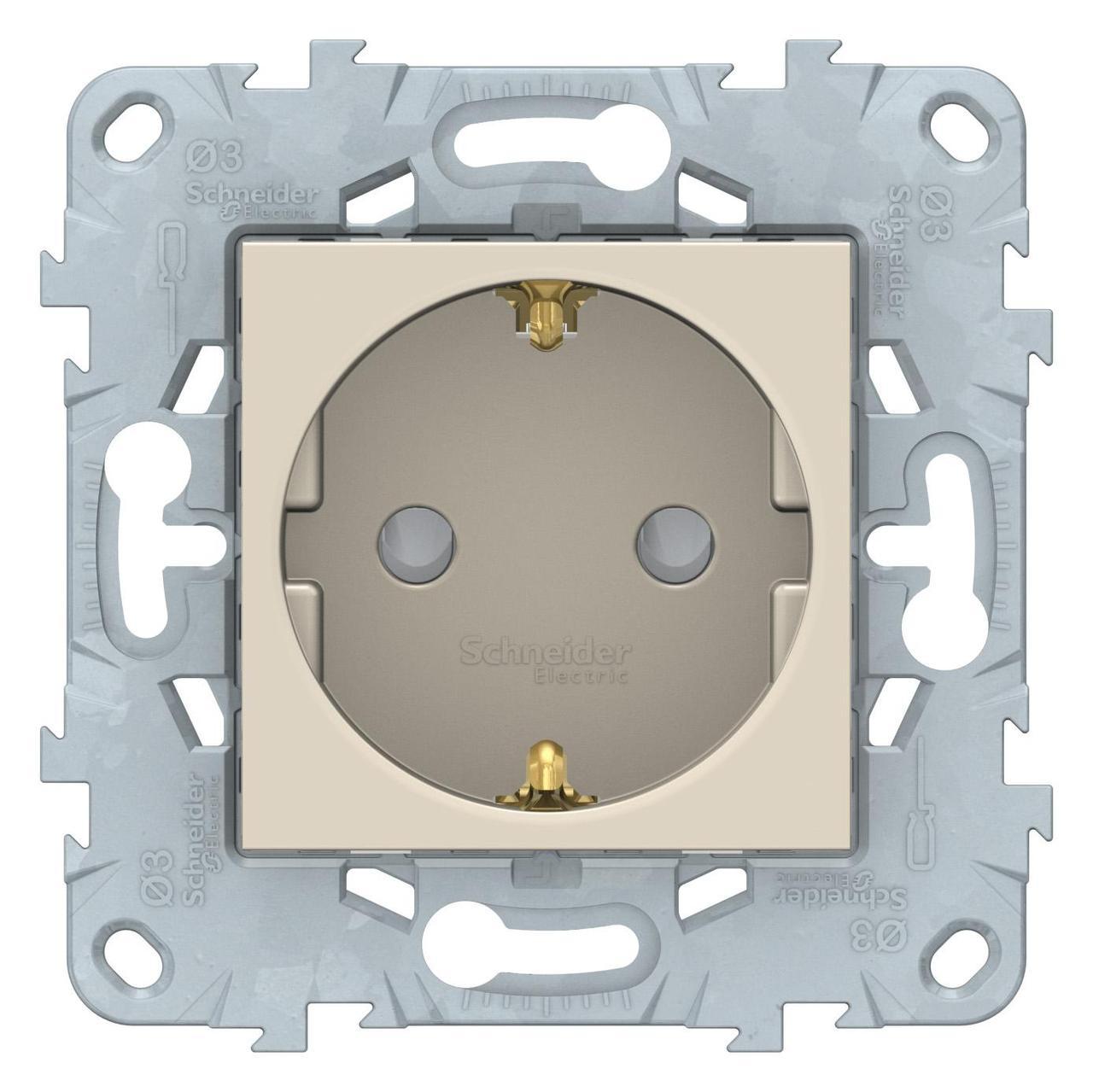 Розетка 1-ая электрическая , с заземлением и защитными шторками (безвинтовой зажим) , Бежевый, серия Unica