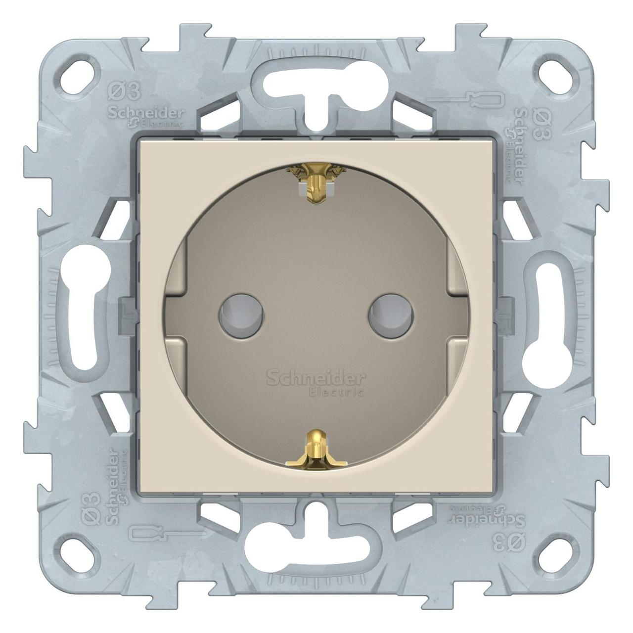 Розетка 1-ая электрическая , с заземлением и защитными шторками (винтовой зажим) , Бежевый, серия Unica New, Schneider Electric