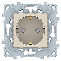 Розетка 1-ая электрическая , с заземлением и защитными шторками (винтовой зажим) , Бежевый, серия Unica New,