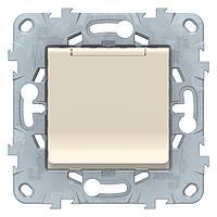 Розетка 1-ая электрическая , с заземлением и крышкой, защитными шторками , Бежевый, серия Unica New, Schneider
