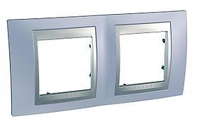 Рамка 2-ая (двойная), Берилл/Алюминий (металл), серия UNICA TOP/CLASS, Schneider Electric