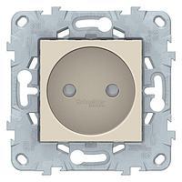 Розетка 1-ая электрическая без заземления с защитными шторками , Бежевый, серия Unica New, Schneider Electric