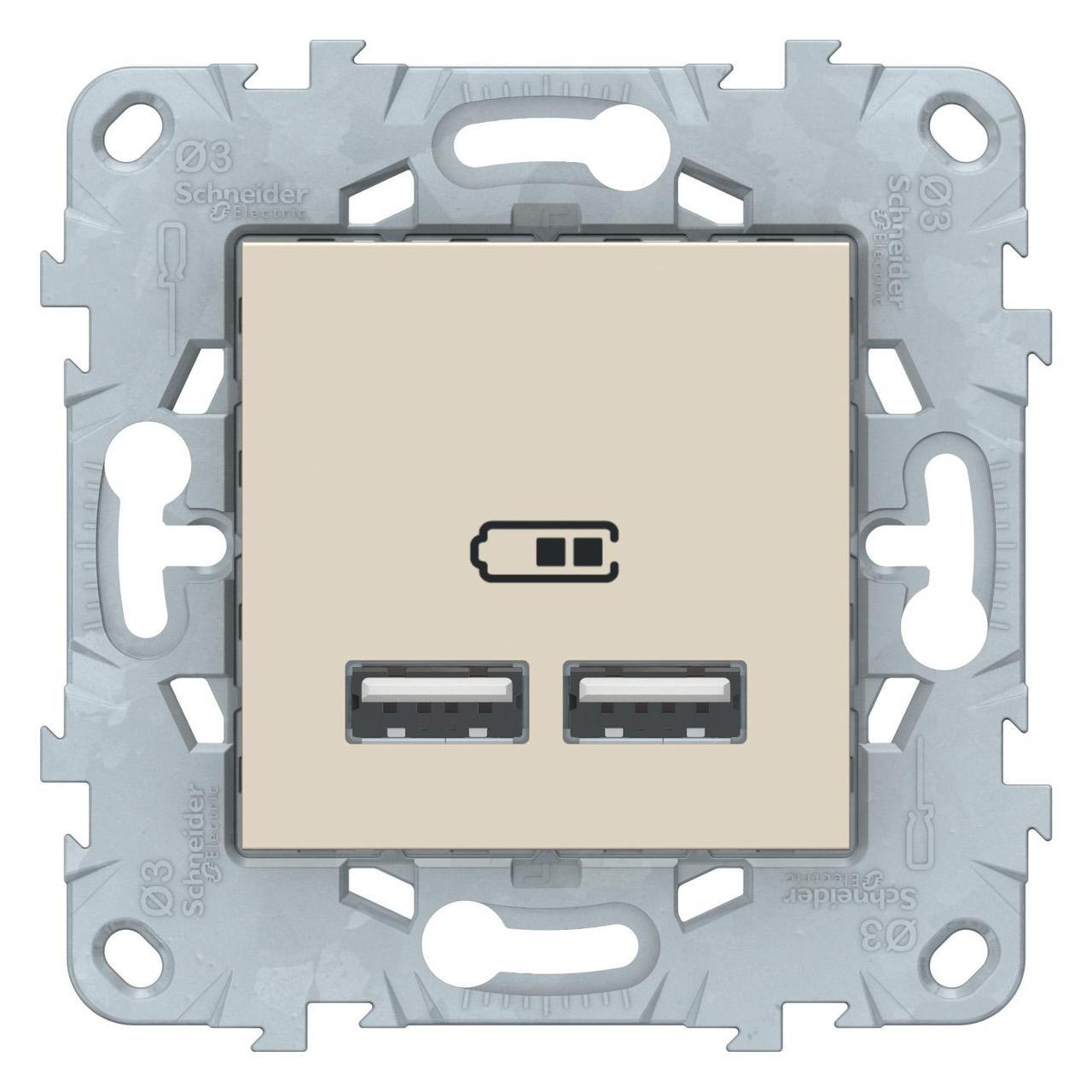 Розетка USB 2-ая (для подзарядки) , Бежевый, серия Unica New, Schneider Electric