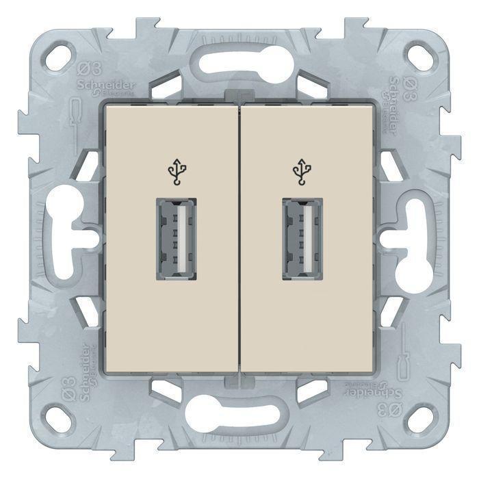 Розетка USB 2-ая , Бежевый, серия Unica New, Schneider Electric