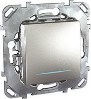 Выключатель 1-клавишный , с подсветкой , Алюминий, серия UNICA TOP/CLASS, Schneider Electric
