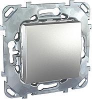 Выключатель 1-клавишный ,проходной (с двух мест) , Алюминий, серия UNICA TOP/CLASS, Schneider Electric