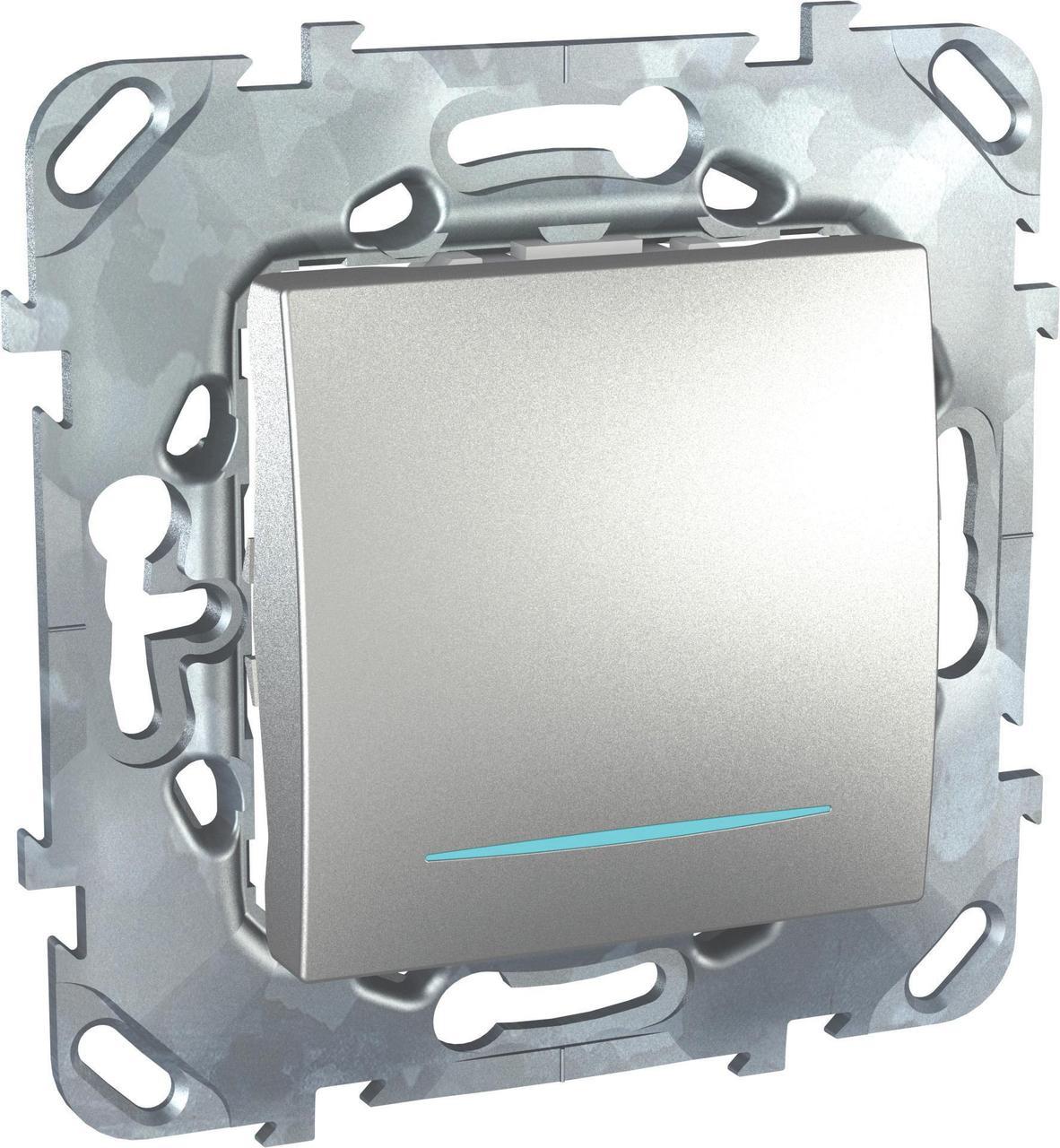 Выключатель 1-клавишный ,проходной с подсветкой (с двух мест) , Алюминий, серия UNICA TOP/CLASS, Schneider Electric