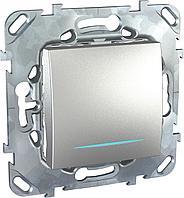 Выключатель 1-клавишный ,проходной с подсветкой (с двух мест) , Алюминий, серия UNICA TOP/CLASS, Schneider