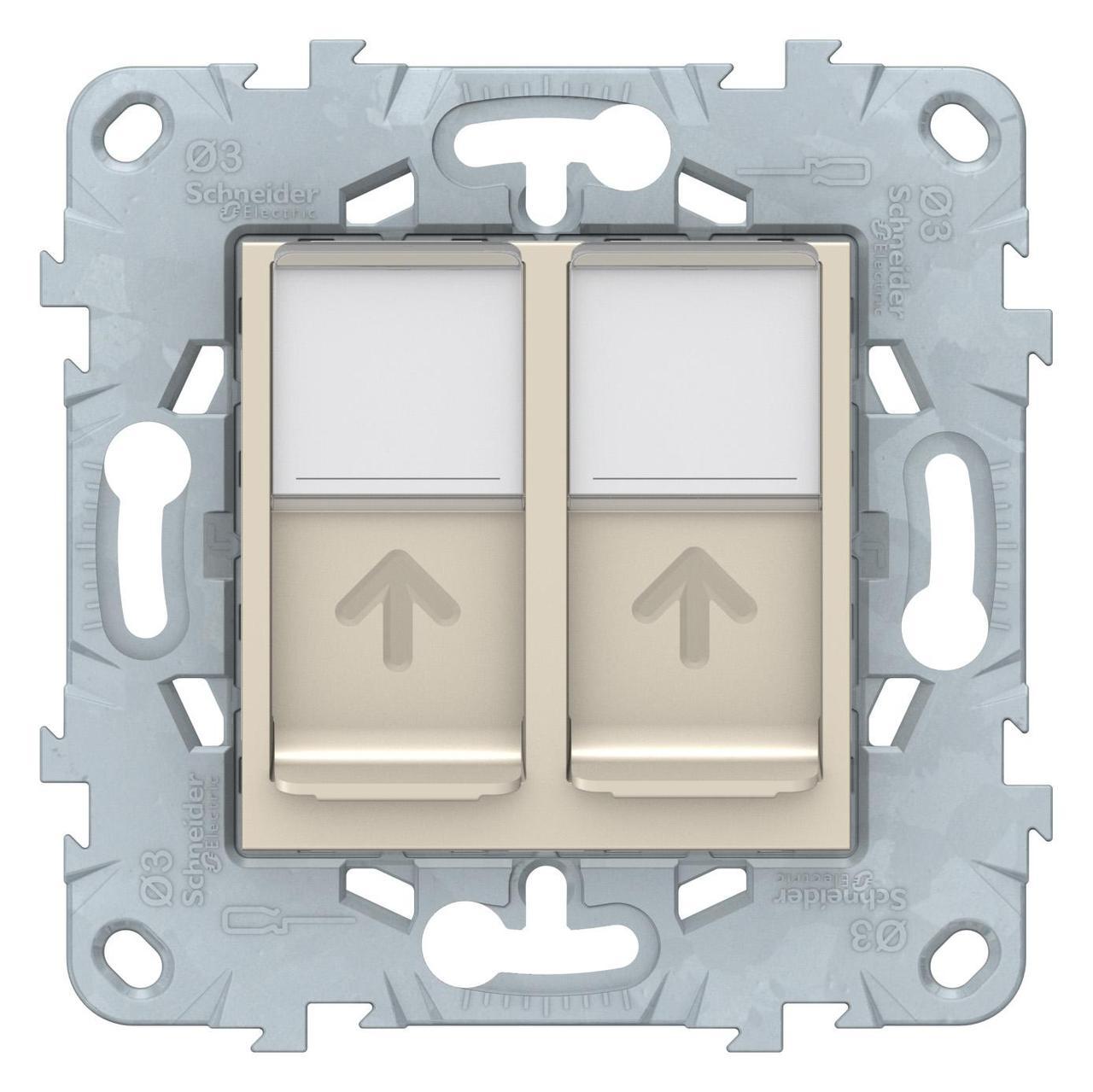 Розетка компьютерная 2-ая кат.5е, RJ-45 (интернет) , Бежевый, серия Unica New, Schneider Electric