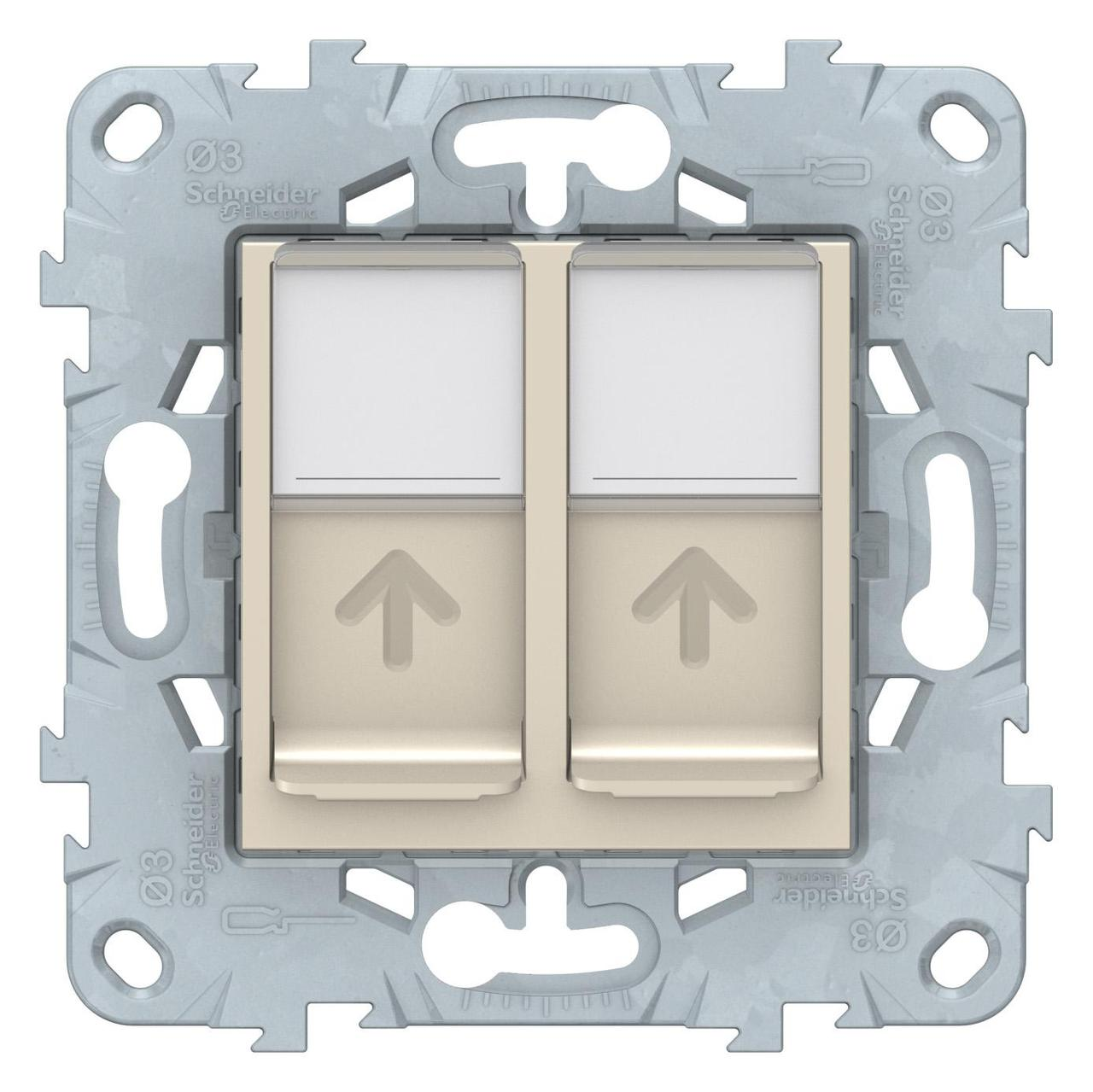 Розетка компьютерная 2-ая кат.6, RJ-45 (интернет) , Бежевый, серия Unica New, Schneider Electric