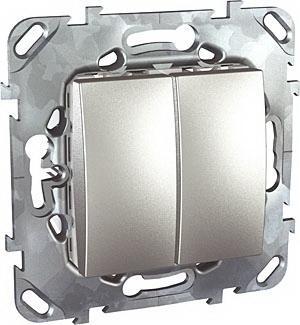 Выключатель 2-клавишный , Алюминий, серия UNICA TOP/CLASS, Schneider Electric