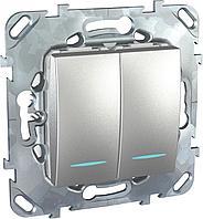 Выключатель 2-клавишный , с подсветкой , Алюминий, серия UNICA TOP/CLASS, Schneider Electric
