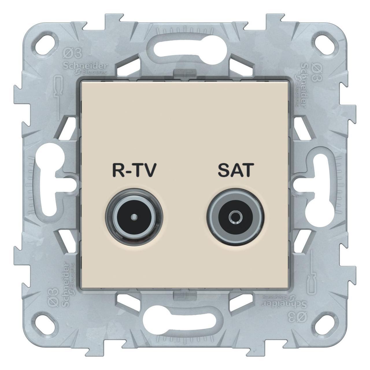 Розетка телевизионная проходная ТV-SAT , Бежевый, серия Unica New, Schneider Electric