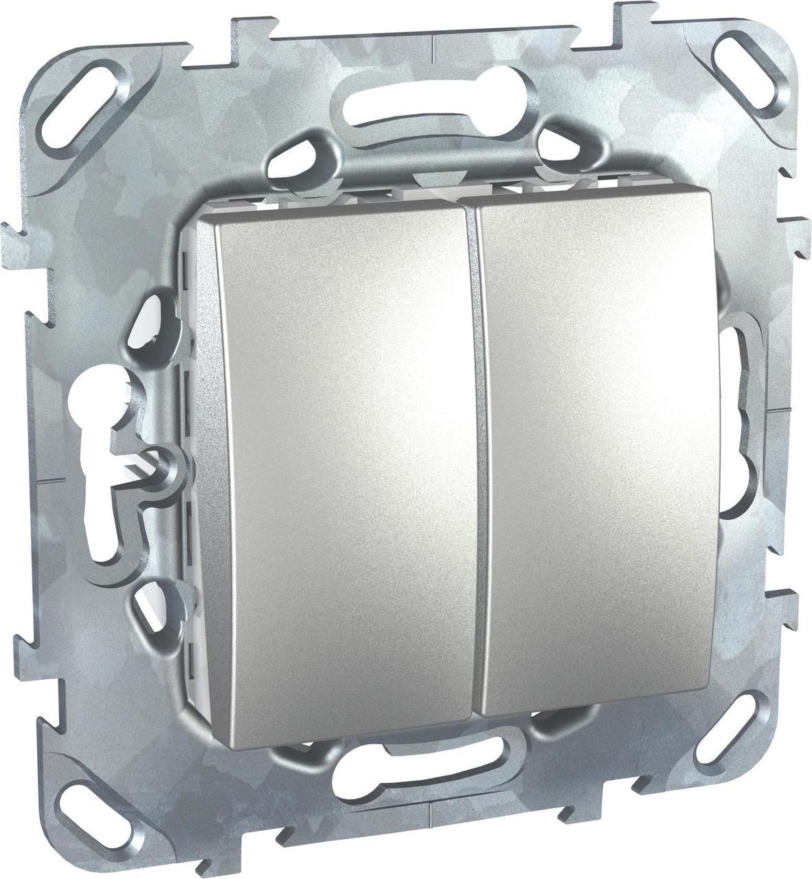 Выключатель 2-клавишный проходной (с двух мест) , Алюминий, серия UNICA TOP/CLASS, Schneider Electric