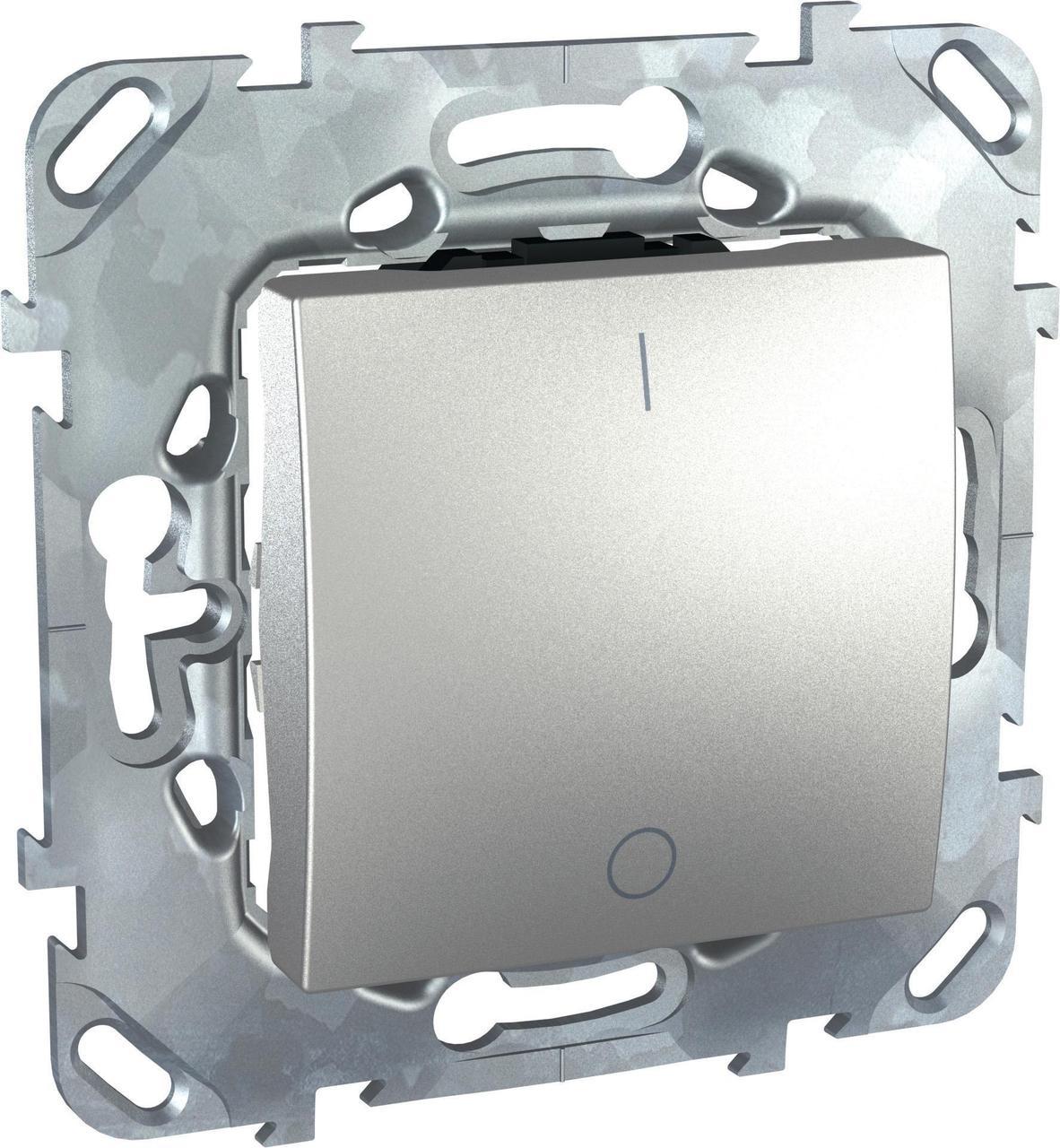 Выключатель 2-полюсный 1-клавишный 16А , Алюминий, серия UNICA TOP/CLASS, Schneider Electric