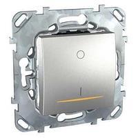 Выключатель 2-полюсный 1-клавишный с индикацией 16А , Алюминий, серия UNICA TOP/CLASS, Schneider Electric