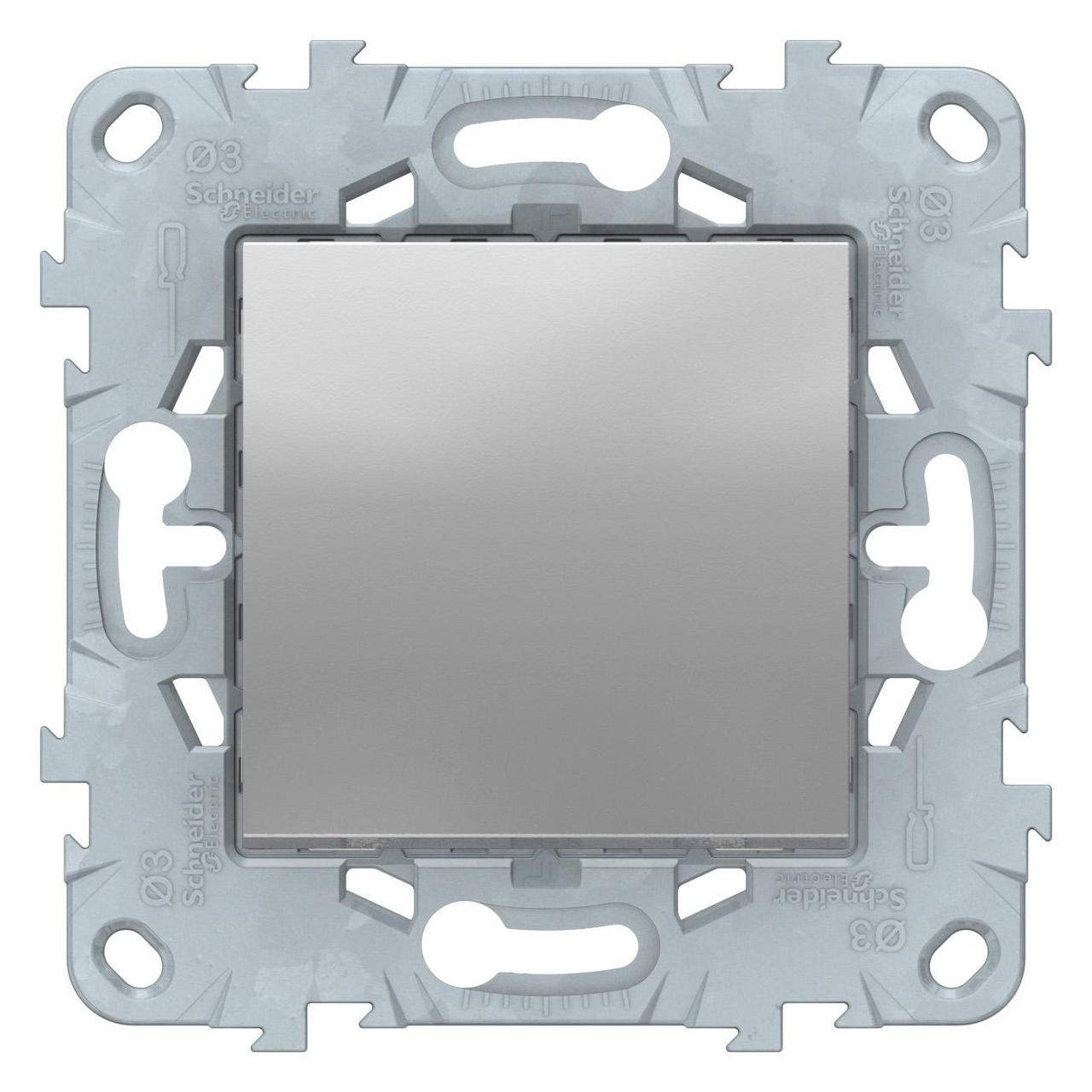 Выключатель 1-клавишный ,проходной (с двух мест) , Алюминий, серия Unica New, Schneider Electric