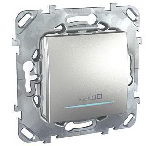 Диммер нажимной (кнопочный) 400Вт для л/н и эл.трансф. , Алюминий, серия UNICA TOP/CLASS, Schneider Electric