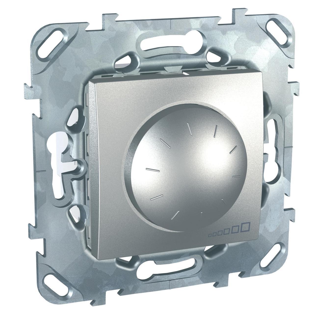 Диммер поворотно-нажимной , 400Вт LED универсальны , Алюминий, серия UNICA TOP/CLASS, Schneider Electric