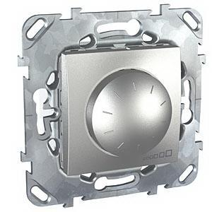 Диммер поворотно-нажимной , 400Вт для ламп накаливания , Алюминий, серия UNICA TOP/CLASS, Schneider Electric
