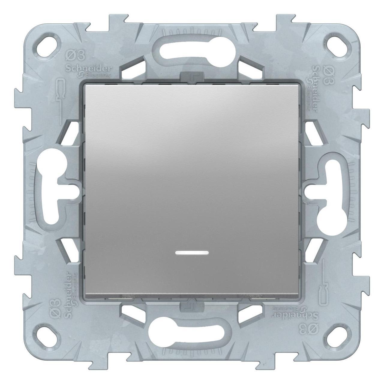 Выключатель 1-клавишный; кнопочный с подсветкой , Алюминий, серия Unica New, Schneider Electric