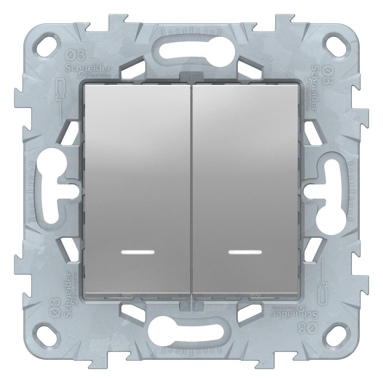 Выключатель 2-клавишный , с подсветкой , Алюминий, серия Unica New, Schneider Electric