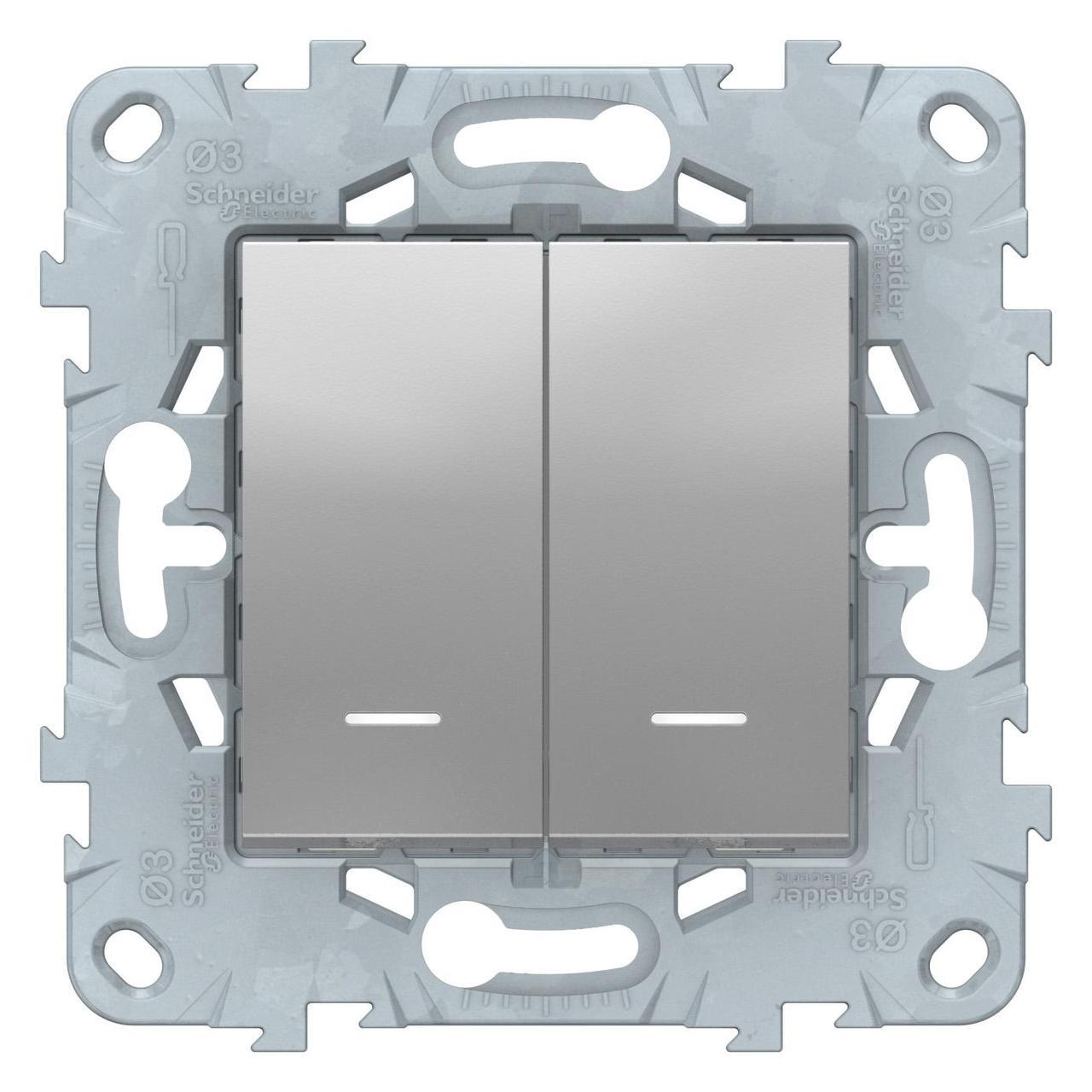 Выключатель 2-клавишный проходной с подсветкой (с двух мест) , Алюминий, серия Unica New, Schneider Electric