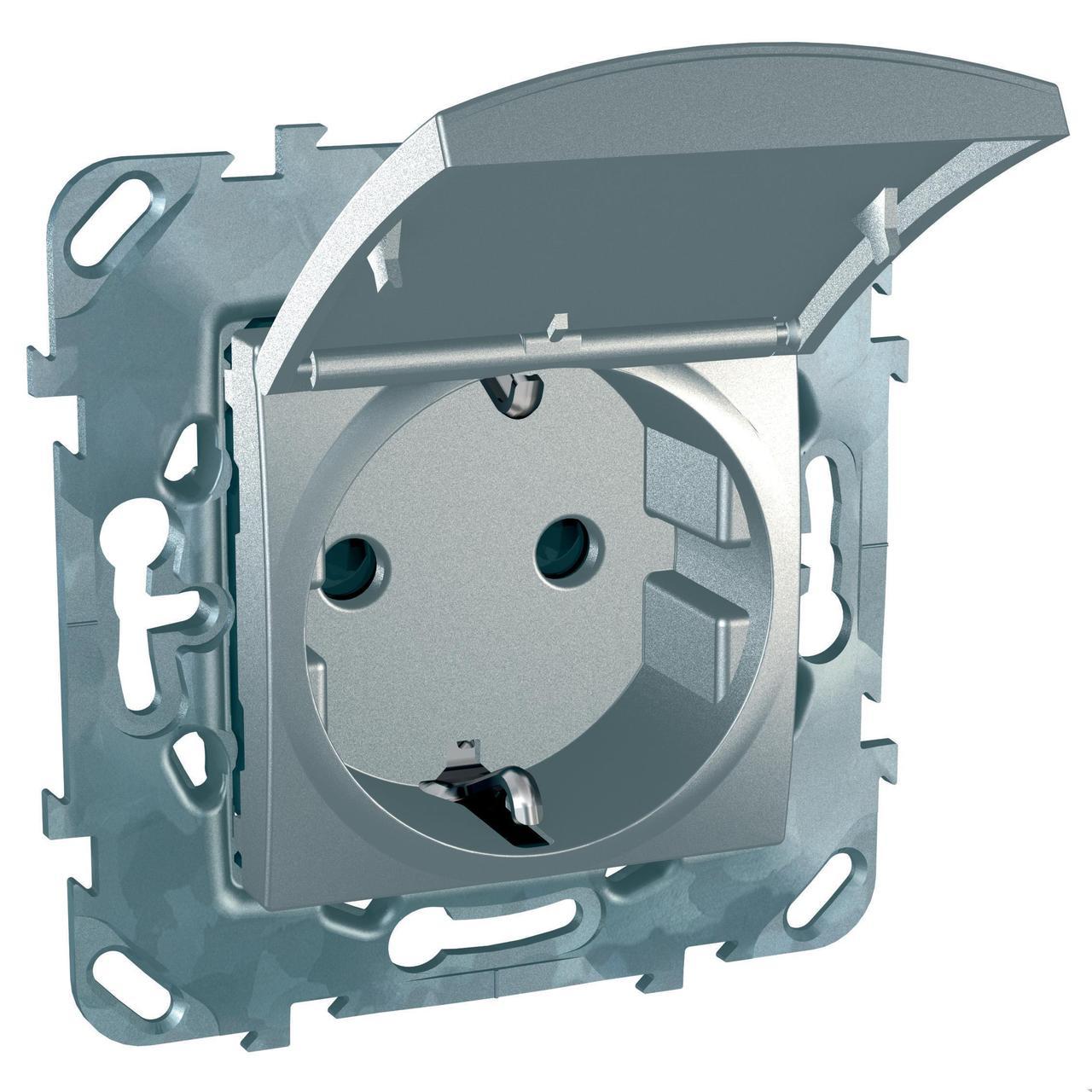 Розетка 1-ая электрическая , с заземлением и крышкой , Алюминий, серия UNICA TOP/CLASS, Schneider Electric