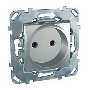 Розетка 1-ая электрическая без заземления с защитными шторками , Алюминий, серия UNICA TOP/CLASS, Schneider Electric