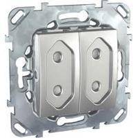Розетка 2-ая электрическая без заземления с защитными шторками (для узких вилок) , Алюминий, серия UNICA TOP/CLASS, Schneider Electric