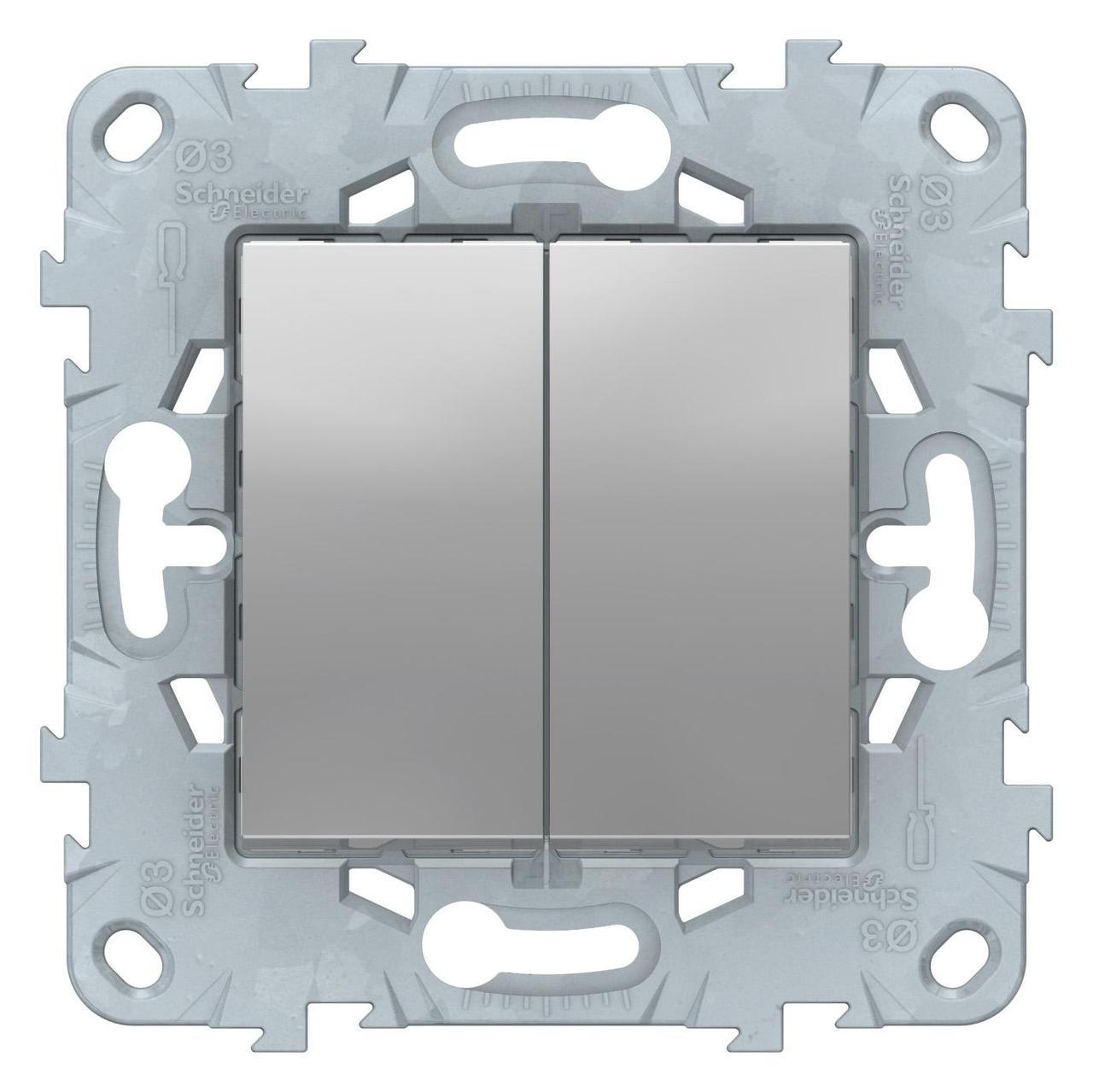 Выключатель 2-клавишный, перекрестный (с трех мест , Алюминий, серия Unica New, Schneider Electric