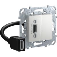 Розетка HDMI 1-ая (разветвительный кабель) , Алюминий, серия UNICA TOP/CLASS, Schneider Electric