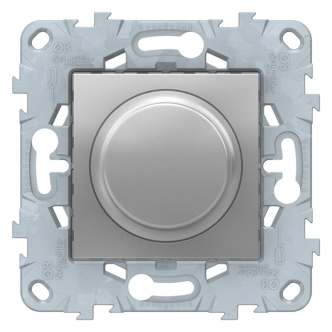 Диммер поворотно-нажимной , 400Вт для л/н и эл.трансф. , Алюминий, серия Unica New, Schneider Electric