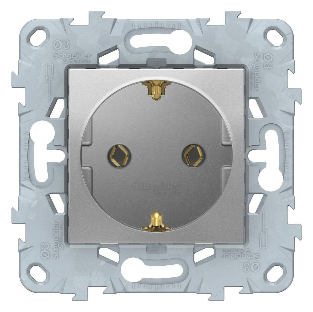 Розетка 1-ая электрическая , с заземлением (безвинтовой зажим) , Алюминий, серия Unica New, Schneider Electric