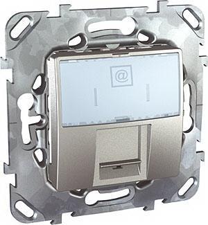 Розетка компьютерная 1-ая кат.5е, RJ-45 (интернет) , Алюминий, серия UNICA TOP/CLASS, Schneider Electric